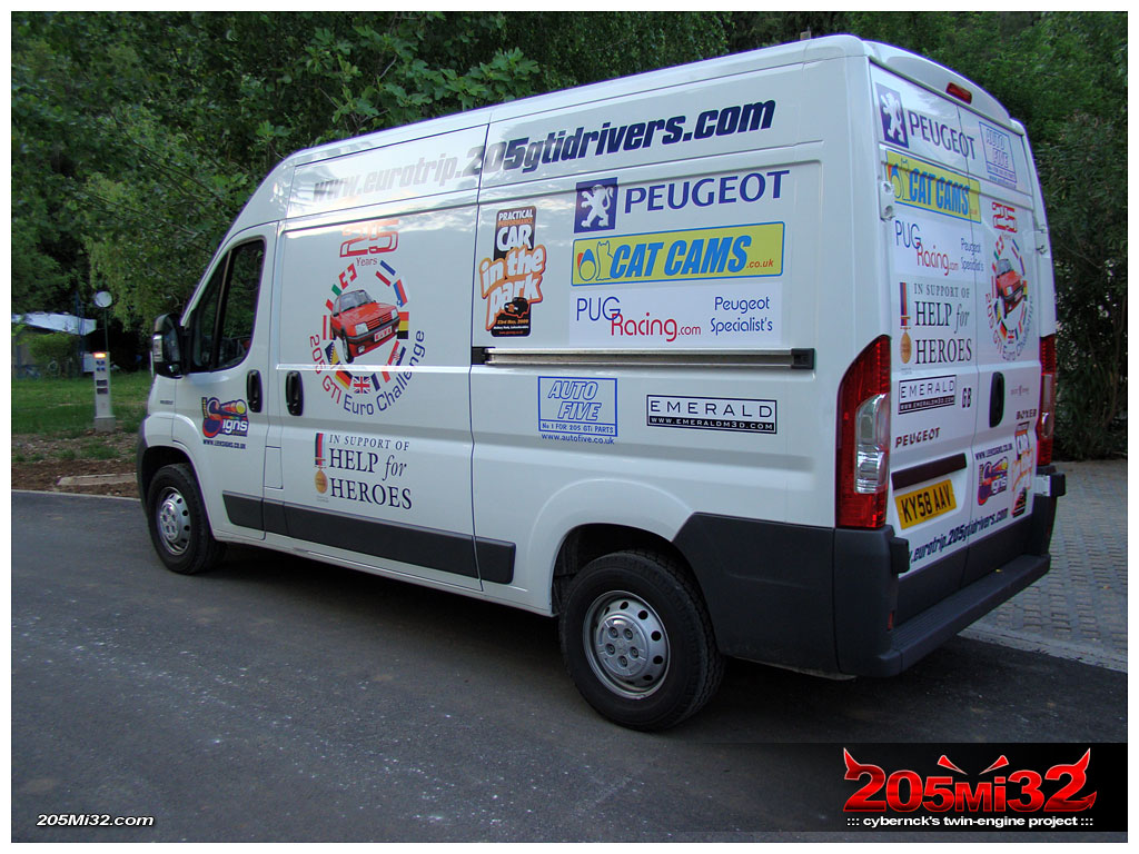 Eurotrip support van, driven by Graham, arrived with the other UK group.