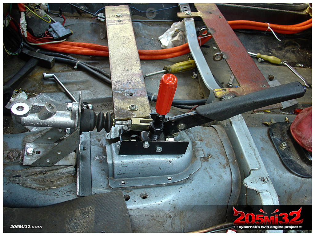 Tilton brake bias valve in place, positioned in a way that it allows for the passenger seat to be fitted later.