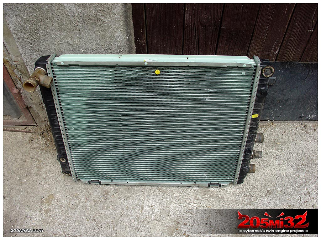 Large Mercedes radiator, to be used for cooling both engines.