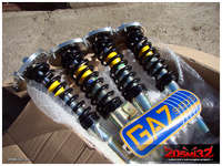GAZ GHA coilovers with 300 lbs springs and eccentric mounts, purchased via group buy on 205GTIDrivers.com.