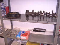 Crankshaft and flywheel + clutch pressure plate