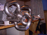 """Attached the 2.5"""" v-band flange to manifold collector with a few spot welds."""