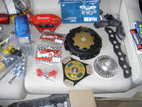 Uprated Valeo Racing clutch, poly-race bushes and eccentric top mounts bought from rallydesign.
