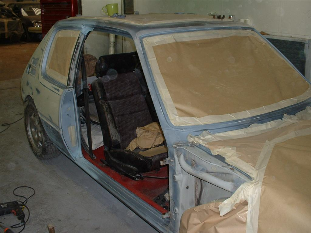 My car in the spraybooth, msked up ready for painting