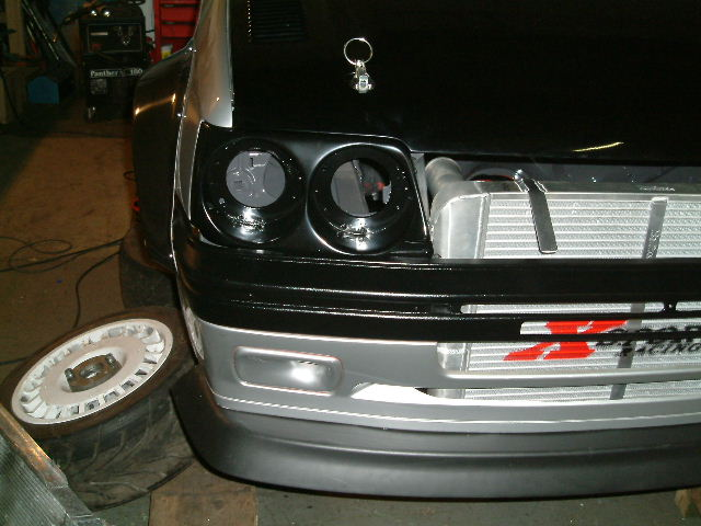 New lights and intercooler logo, bonnet pins fitted
